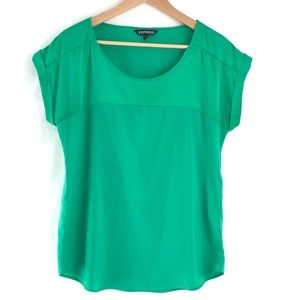 Express Kelly Green Satin Top Size Small